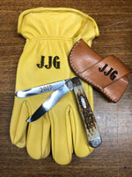 Leather Work Gloves Personalized with Name, Monogram, Ranch Brand, Logos