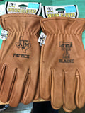 Personalized Brown leather deerskin gloves.