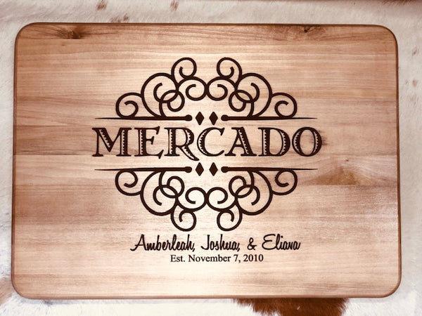 Personalized wood cutting bord
