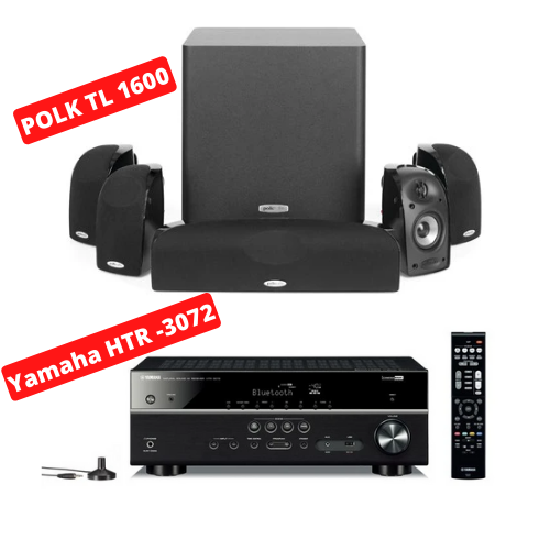 Yamaha HTR-3072 Audio-Video Receiver With Polk Audio TL1600 BlackStone Speaker Set - Dolby 5.1 Home Theater Package # AM501008 - Best Home Theatre Systems - Audiomaxx India
