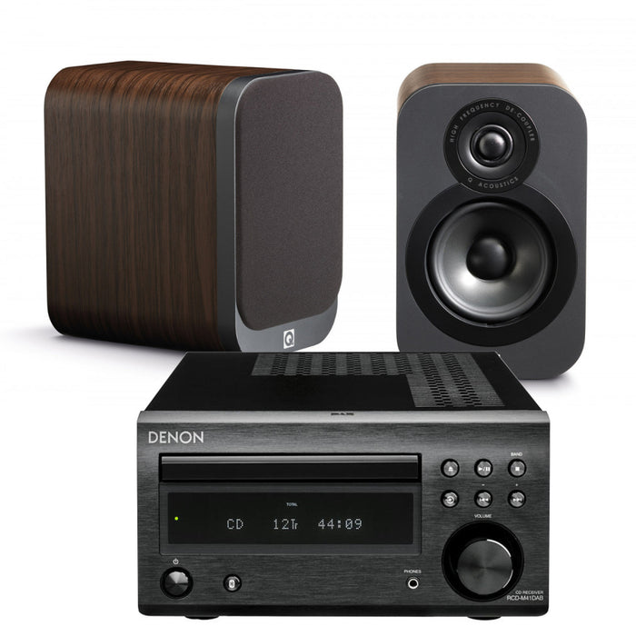 Denon RCD M41 Hi-Fi Amplifier CD Bluetooth Receiver + Q Acoustics Q3020i Bookshelf Speakers - 2.0 Stereo Music System # AM200005 - Best Home Theatre Systems - Audiomaxx India