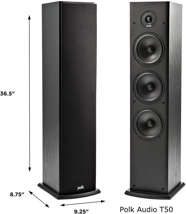 Yamaha RXV585 Audio-Video Receiver With Polk Audio Fusion T50 Tower Speaker Set - Dolby Atmos 7.1 Home Theater Package # AM701009 - Best Home Theatre Systems - Audiomaxx India