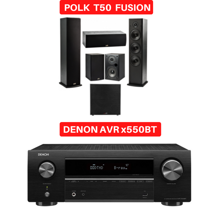 Denon x550BT Audio-Video Receiver With Polk Audio T50 Fusion Speaker Set - Dolby 5.1 Home Theater Package # AM501020 - Best Home Theatre Systems - Audiomaxx India