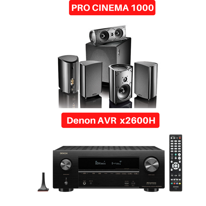 Denon X2600H Audio-Video Receiver With Definitive Technology ProCinema 1000 Satelite Speaker Set- Dolby  5.1 Home Theater Package # AM501043 - Best Home Theatre Systems - Audiomaxx India