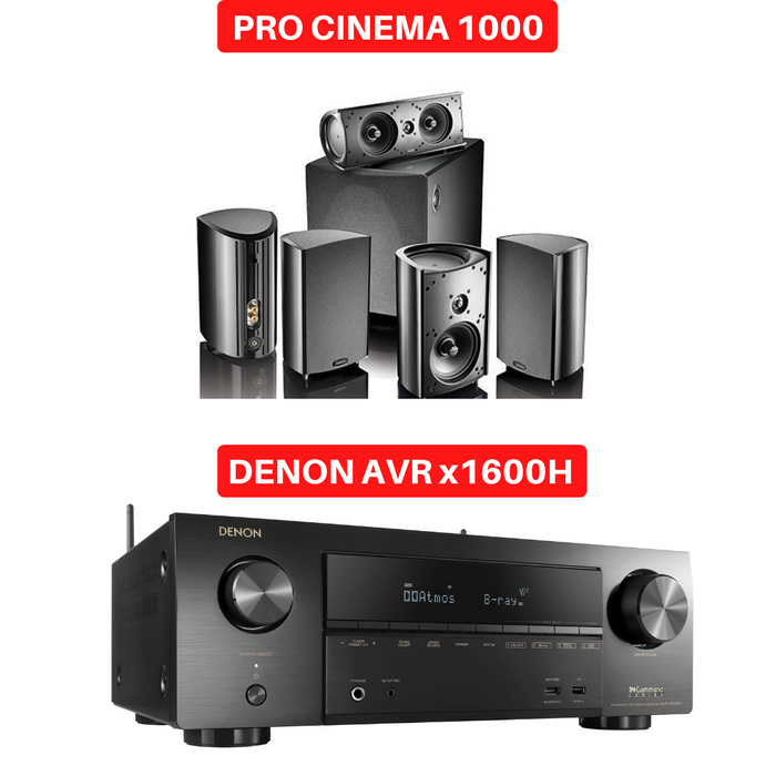 Denon X1600H Audio-Video Receiver With  Definitive Technology ProCinema 1000 Satellite Sepakers Set  - Dolby 5.1 Home Theater Package # AM501044 - Best Home Theatre Systems - Audiomaxx India