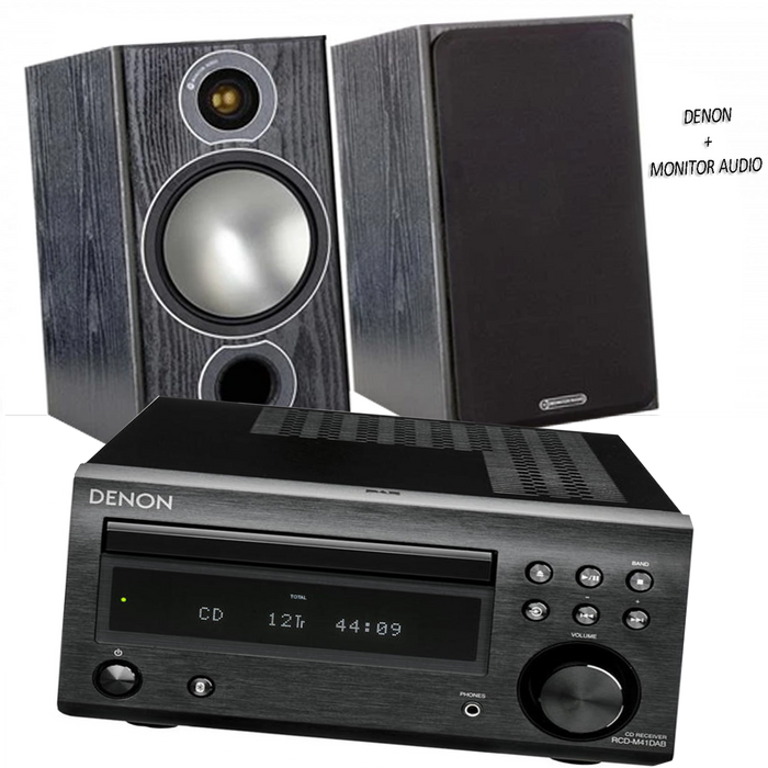 Denon RCD M41 Hi-Fi Amplifier CD Bluetooth Receiver + Monitor Audio Bronze II Bookshelf Speakers - 2.0 Stereo Music System  # AM200014 - Best Home Theatre Systems - Audiomaxx India