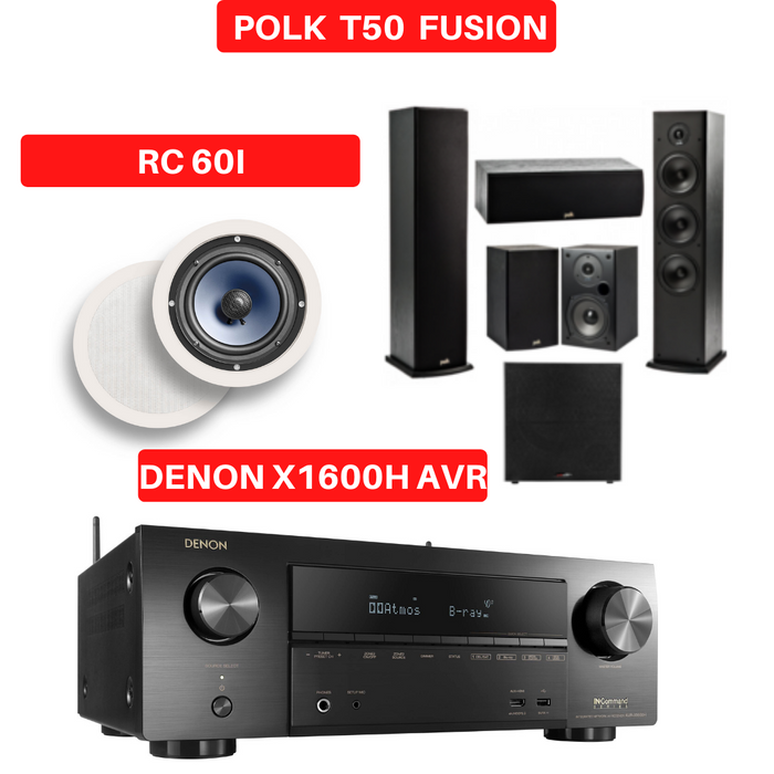 Denon X1600H Audio-Video Receiver With Polk Audio T50 Fusion Tower Speaker Set - Dolby Atmos 7.1 Home Theater Package # AM701007 - Best Home Theatre Systems - Audiomaxx India