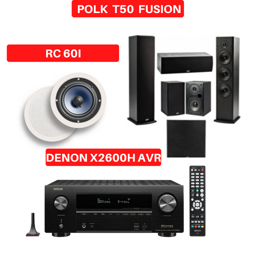 Denon X2600H Audio-Video Receiver With Polk Audio T50 Fusion Tower Speaker Set - Dolby Atmos  7.1 Home Theater Package # AM701019 - Best Home Theatre Systems - Audiomaxx India
