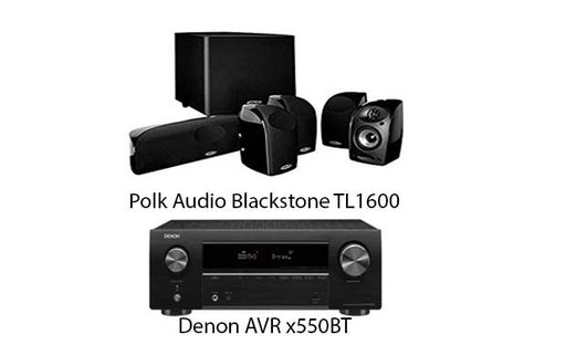 Denon x550BT Audio-Video Receiver With Polk Audio TL-1600 BlackStone Satellite Speaker Set - Dolby 5.1 Home Theater Package # AM501010 - Best Home Theatre Systems - Audiomaxx India