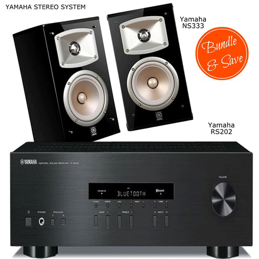 Yamaha RS 202 Stereo Amplifier Bluetooth Receiver + NS333 Bookshelf Speakers 2.0 Stereo Music System # AM200030 - Best Home Theatre Systems - Audiomaxx India