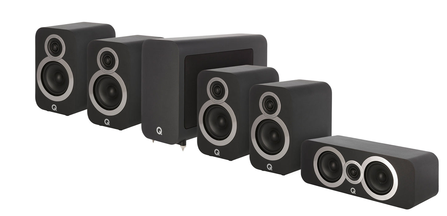 Q Acoustics Q3010i x 4 Compact Bookshelf Speakers + 3090 Center + 3060 Subwoofer - Dolby 5.1 Surround Sound Speaker Package # SP031 - Best Home Theatre Systems - Audiomaxx India