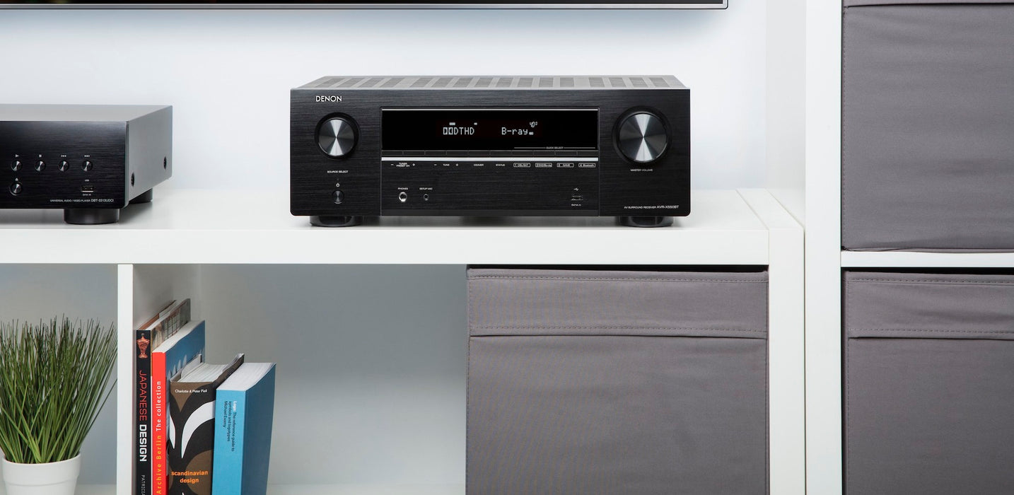 Denon AVR x550BT 5.2 Channel 130W Dolby True HD And DTS HD, 4K Ultra HD Passthrough - Audiomaxx India