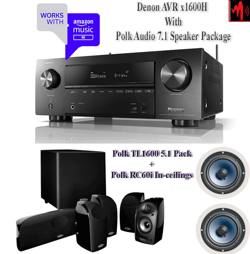 Denon X1600H Audio-Video Receiver With Polk TL1600 Black Stone Satellite Speakers Set - Dolby Atmos 7.1 Home Theater Package # AM701008 - Best Home Theatre Systems - Audiomaxx India
