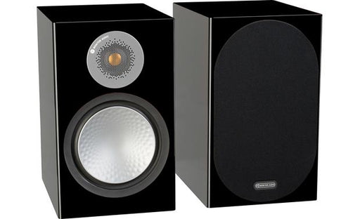 Monitor Audio Silver 100 Bookshelf Speakers Pair 120w x 2 - High Gloss Black - Best Home Theatre Systems - Audiomaxx India
