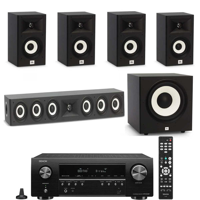 "Denon AVR x250BT With JBL A120 + A135 Speaker Set With A100P 10"" Subwoofer - Dolby 5.1 Home Theater Package # AM501056 - Best Home Theatre Systems - Audiomaxx India"