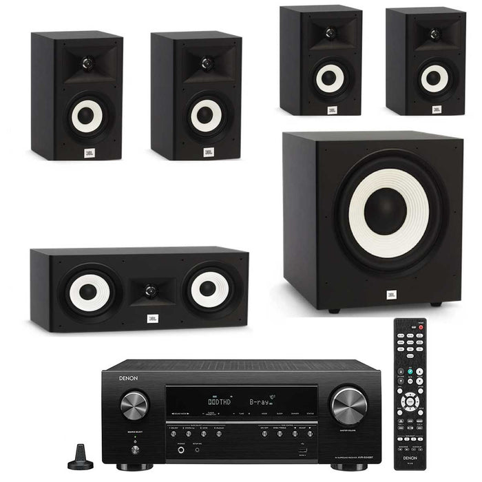 "Denon AVR x250BT With JBL A130 + A120 + A125C Speaker Set + A120P 12"" Subwoofer - Dolby 5.1 Home Theater Package # AM501054 - Best Home Theatre Systems - Audiomaxx India"