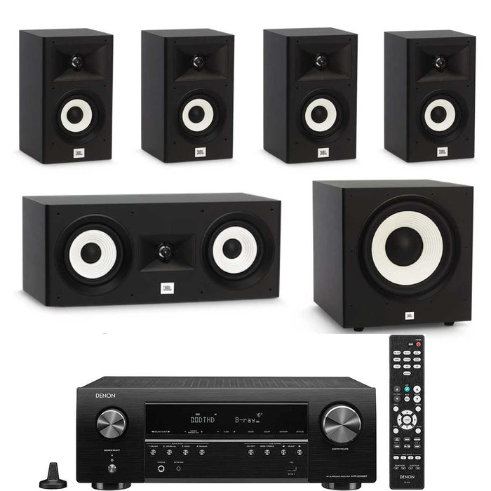 "Denon AVR x250BT With JBL A120 x 4 + A125C Speaker Set + A100P 10"" Subwoofer - Dolby 5.1 Home Theater Package # AM501050 - Best Home Theatre Systems - Audiomaxx India"