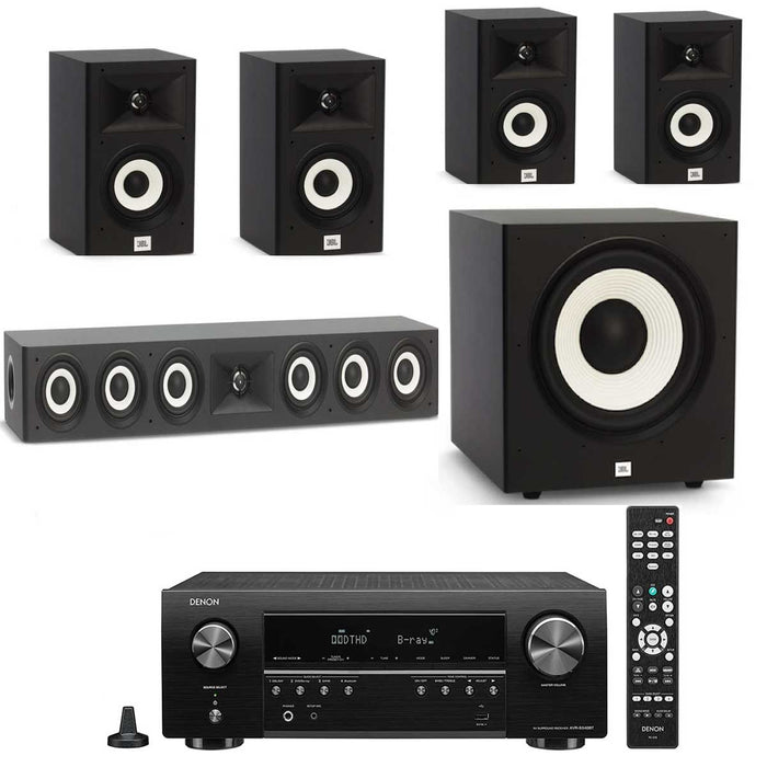 "Denon AVR x550BT With JBL A130 / A120/A135C Speaker Set + A120P 12"" Subwoofer - Dolby 5.1 Home Theater Package # AM501058 - Best Home Theatre Systems - Audiomaxx India"