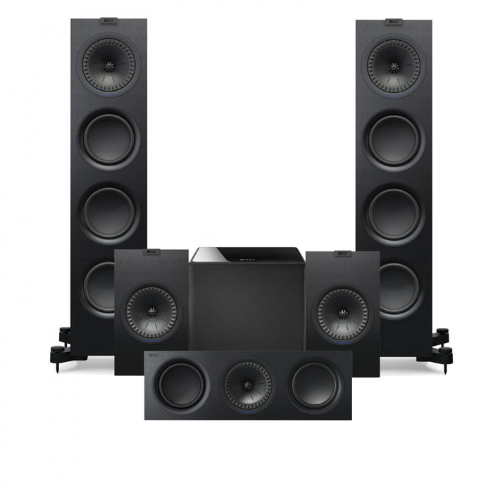 KEF Q750 Tower Speakers + Q350 BookShelf + Q650 Center+ Kube 10 Subwoofer - Dolby 5.1 Surround Sound Speaker Package # SP057 - Best Home Theatre Systems - Audiomaxx India