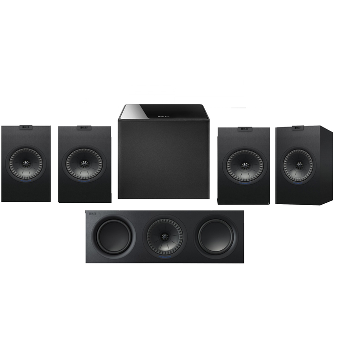 KEF Q150 Bookshelf Speakers x 2 Pairs + Q650 Center Speaker + Kube 8 Subwoofer - Dolby 5.1 Surround Sound Speaker Package # SP054 - Best Home Theatre Systems - Audiomaxx India