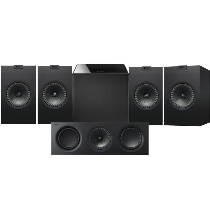 KEF Q350 Bookshelf Speakers x 2 Pairs + Q650 Center Speaker + Kube 8 Subwoofer - Dolby  5.1 Surround Sound Speaker Package # SP052 - Best Home Theatre Systems - Audiomaxx India