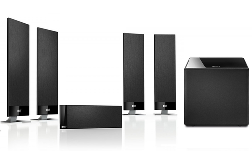 KEF T301 Ultra Slim On-Wall Speaker System With Kube10 Subwoofer  -  Dolby 5.1 Surround Sound Satellite Speaker Package # SP056 - Best Home Theatre Systems - Audiomaxx India