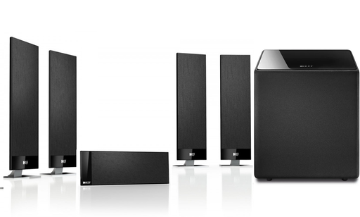 KEF T301 Ultra Slim OnWall / Satellite Speaker System + Kube 12 Subwoofer - Dolby  5.1 Surround Sound Speaker Package # SP049 - Best Home Theatre Systems - Audiomaxx India
