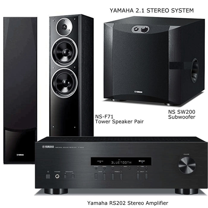 Yamaha RS202 Stereo Amplifier Bluetooth Receiver+ NSF71 Tower Speakers + NS-SW200 Subwoofer - 2.1 Stereo Music System # AM201032 - Best Home Theatre Systems - Audiomaxx India