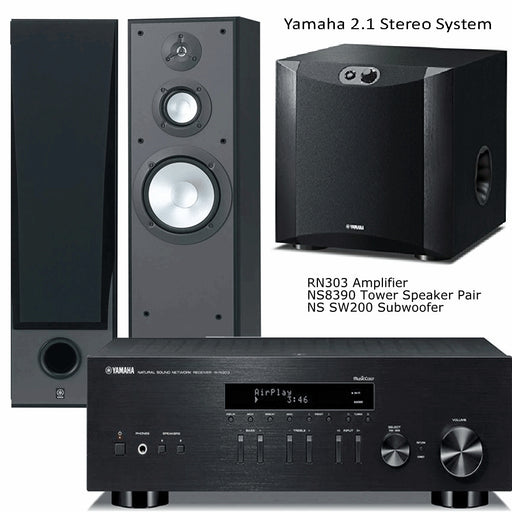 Yamaha RN303 Stereo Amplifier Network WiFi Bluetooth Receiver + NS8390 Tower Speakers + NS-SW200 Subwoofer - 2.1 Stereo Music System  # AM201030 - Best Home Theatre Systems - Audiomaxx India