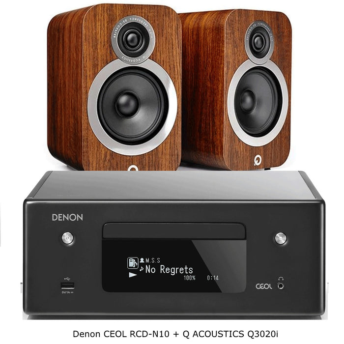 Denon CEOL-RCDN10 Compact HiFi Network Stereo Amplifier With FM, Built-In CD Player+Q Acoustics Q3020i Bookshelf Speakers - 2.0 Stereo Music System # AM200044 - Best Home Theatre Systems - Audiomaxx India