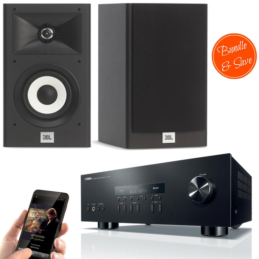 Yamaha RS202 Amplifier Bluetooth Receiver + JBL Stage A130 Bookshelf Speakers - 2.0 Stereo Music System  # AM200017 - Best Home Theatre Systems - Audiomaxx India