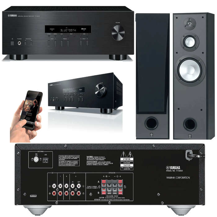 Yamaha RS202 Amplifier With NS-8390 Tower Speakers - 2.0 Stereo Music System # AM200055 - Best Home Theatre Systems - Audiomaxx India