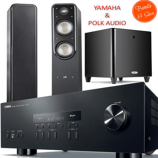 Yamaha RS202 Stereo Amplifier Bluetooth Reveiver + Polk Audio S50 Tower Speakers + DSW PRO550 Subwoofer - 2.1 Stereo Music System # AM201001 - Best Home Theatre Systems - Audiomaxx India