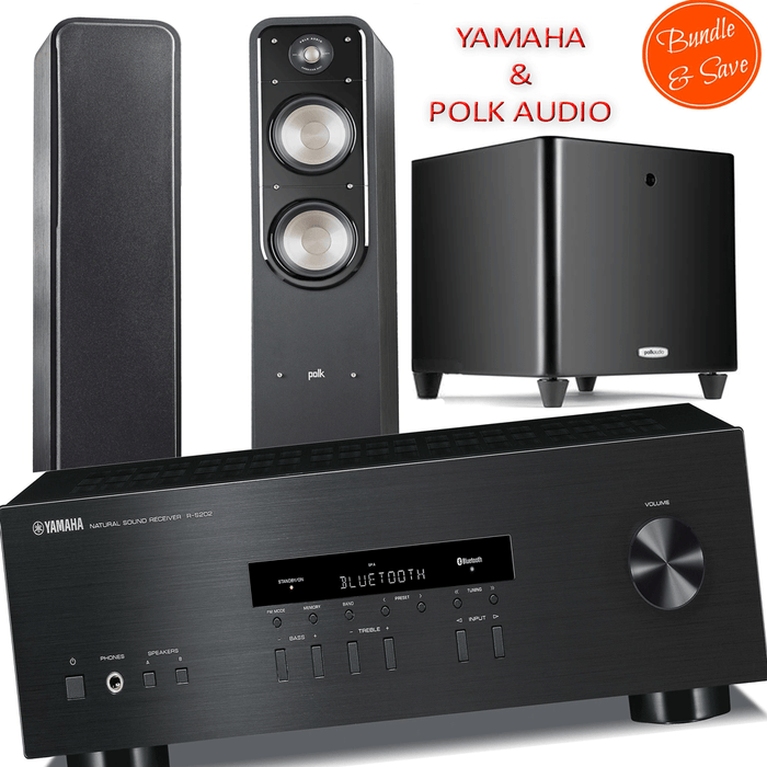 Yamaha RS202 Stereo Amplifier Bluetooth Receiver + Polk Audio S55 Tower Speakers + DSW PRO550 Subwoofer - 2.1 Stereo Music System # AM201002 - Best Home Theatre Systems - Audiomaxx India