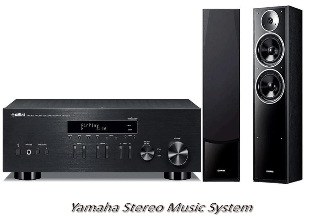 Yamaha RN303 Stereo Amplifier Network WiFi Bluetooth Receiver + NSF71 Tower Speakers - 2.0 Stereo Music System # AM200028 - Best Home Theatre Systems - Audiomaxx India