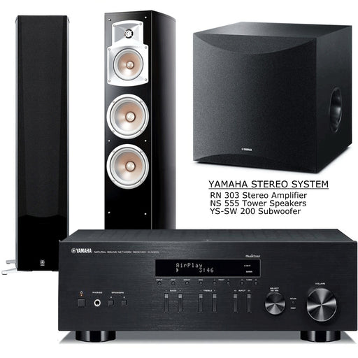 Yamaha RN303 Stereo Amplifier Network WiFi Bluetooth Receiver + NS555 Tower Speakers - NS-SW200 Subwoofer - 2.1 Stereo Music System  # AM201029 - Best Home Theatre Systems - Audiomaxx India