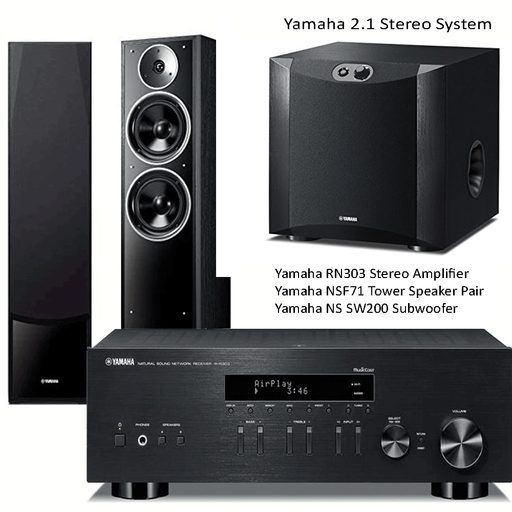 Yamaha RN303 Stereo Network WiFi Bluetooth Receiver + NSF71 Tower Speakers + NS-SW200 Subwoofer - 2.1 Stereo Music System # AM201028 - Best Home Theatre Systems - Audiomaxx India
