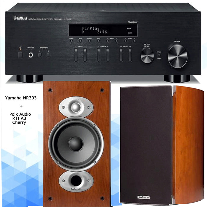 Yamaha RN303 Amplifier Network WiFi Bluetooth Receiver + Polk Audio RTi A3 Bookshelf Speakers 2.0 Stereo Music System # AM200033 - Best Home Theatre Systems - Audiomaxx India