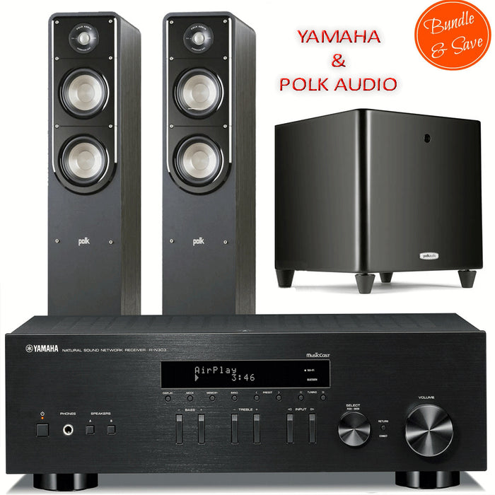 Yamaha RN303 Stereo Amplifier Network WiFi Bluetooth Receiver + Polk Audio S50 Tower Speakers + DSW PRO550 Subwoofer  - 2.1 Stereo Music System # AM201006 - Best Home Theatre Systems - Audiomaxx India