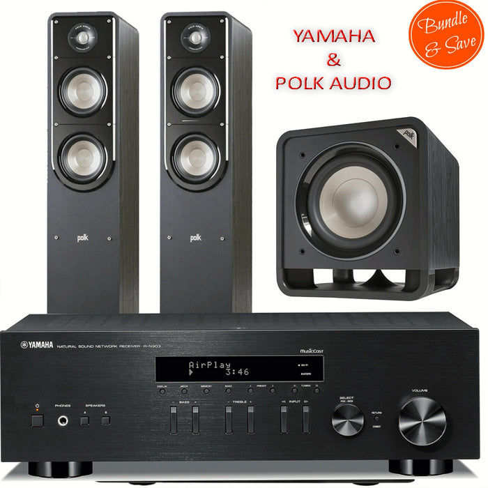 Yamaha RN303 Stereo Amplifier Network WiFi Bluetooth Receiver + Polk Audio S55 Tower Speakers + HTS10 Subwoofer - 2.1 Stereo Music System # AM201008 - Best Home Theatre Systems - Audiomaxx India