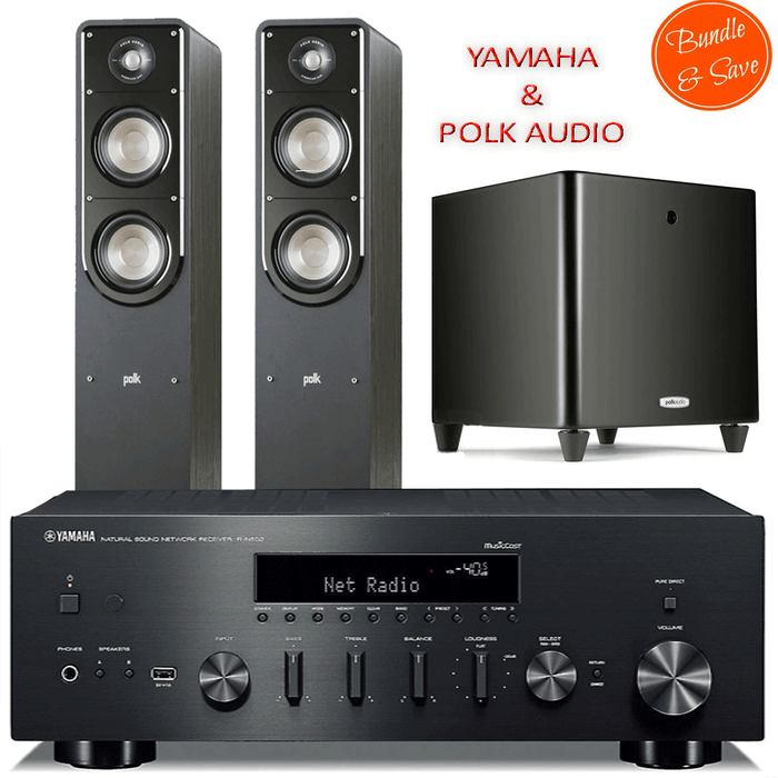 Yamaha RN602 Stereo Amplifier Network WiFi Bluetooth Receiver + Polk Audio S50 Tower + DSW PRO 550 Subwoofer  - 2.1 Stereo Music System # AM201017 - Best Home Theatre Systems - Audiomaxx India