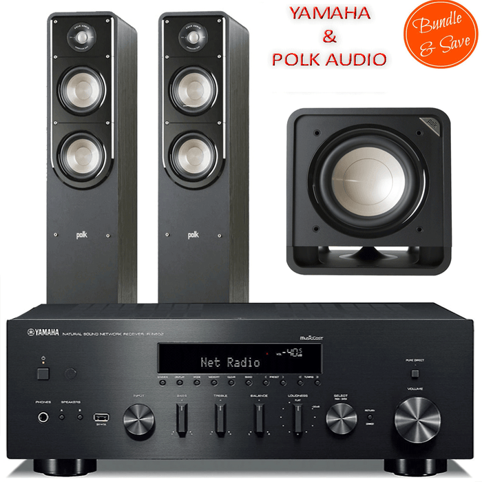 Yamaha RN602 Stereo Amplifier Network WiFi Bluetooth Receiver + Polk Audio S55 Tower Speakers + HTS10 Subwoofer - 2.1 Stereo Music System # AM201020 - Best Home Theatre Systems - Audiomaxx India