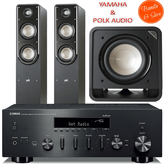 Yamaha RN602 Stereo Amplifier Network WiFi Bluetooth Receiver+ Polk Audio S55 Tower + HTS12 Subwoofer - 2.1 Stereo Music System # AM201019 - Best Home Theatre Systems - Audiomaxx India
