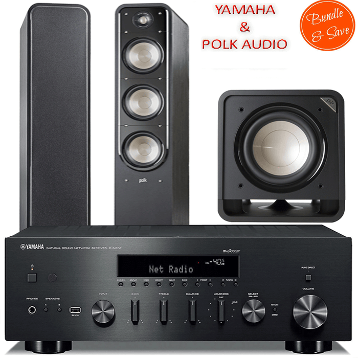 Yamaha RN602 Stereo Amplifier Network WiFi Bluetooth Receiver + Polk Audio S60 Tower + HTS10 Subwoofer 2.1 Stereo Music System # AM201021 - Best Home Theatre Systems - Audiomaxx India