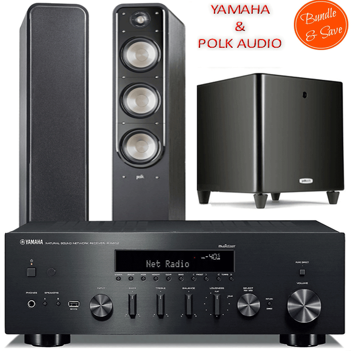 Yamaha RN602 Stereo Amplifier Network WiFi Bluetooth Receiver + Polk Audio S60 Tower Speakers + DSW PRO550 Subwoofer - 2.1 Stereo Music System  # AM201024 - Best Home Theatre Systems - Audiomaxx India