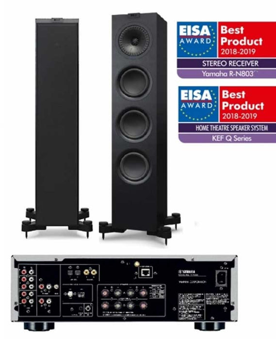 Yamaha RN803 Amplifier Network WiFi Bluetooth Receiver With KEF Q550 Award Winning Speaker Pair - 2.0 Stereo Music System # AM200052 - Best Home Theatre Systems - Audiomaxx India