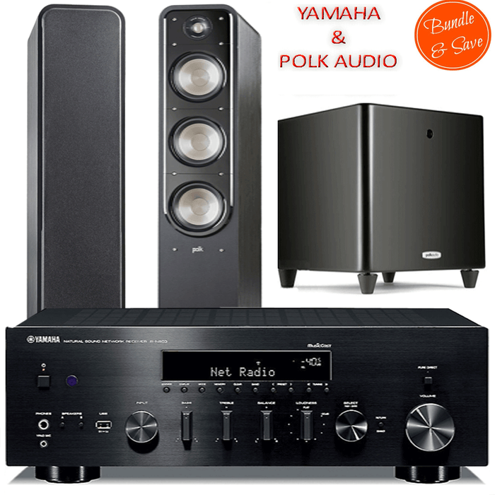 Yamaha RN803 Stereo Amplifier Network WiFi Bluetooth Receiver + Polk Audio S60 Tower Speakers + DSW PRO550  Subwoofer - 2.1 Stereo Music System # AM201015 - Best Home Theatre Systems - Audiomaxx India