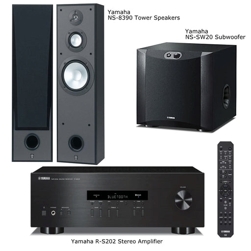 Yamaha RS202 Stereo Amplifier Bluetooth Receiver + NS8390 Tower Speakers + NS-SW200 Subwoofer - 2.1 Stereo Music System # AM201027 - Best Home Theatre Systems - Audiomaxx India
