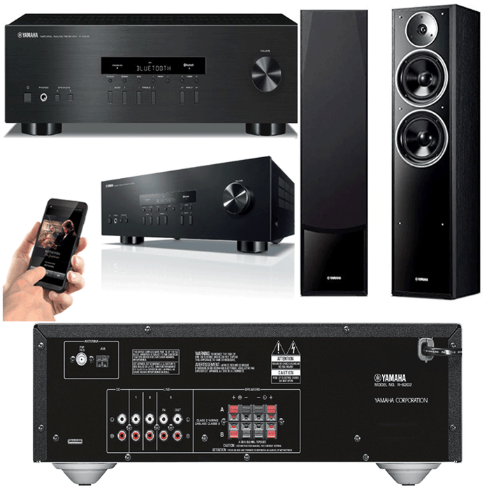Yamaha RS202 Stereo Amplifier Bluetooth Receiver + NSF71 Tower Speakers - 2.0 Stereo Music System # AM200027 - Best Home Theatre Systems - Audiomaxx India