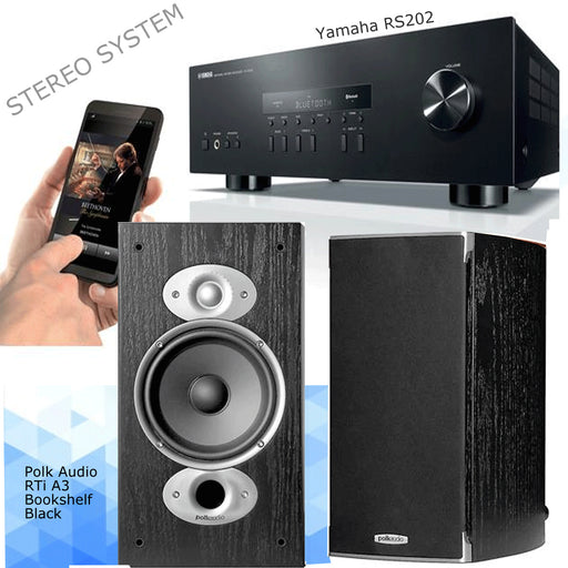 Yamaha RS202 Stereo Amplifier Bluetooth Receiver + Polk Audio RTi A3 Bookshelf Speakers 2.0 Stereo Music System # AM200032 - Best Home Theatre Systems - Audiomaxx India